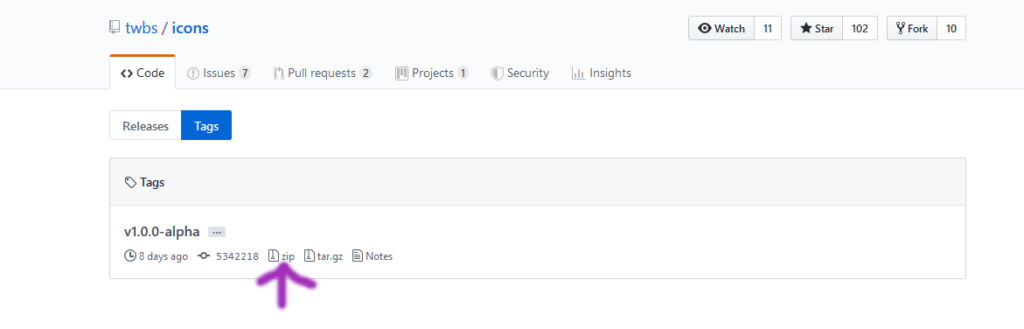 utiliser les icones Bootsrap: télécharger les icones bootstrap étape 3
