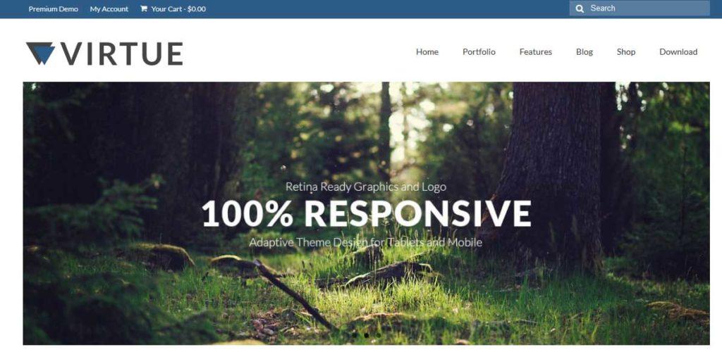 virtue : Thème wordpress gratuit responsive pour site d'entreprise