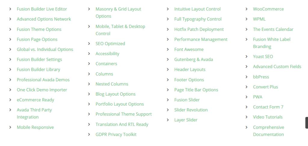 Les fonctionnalités du thème wordpress Avada