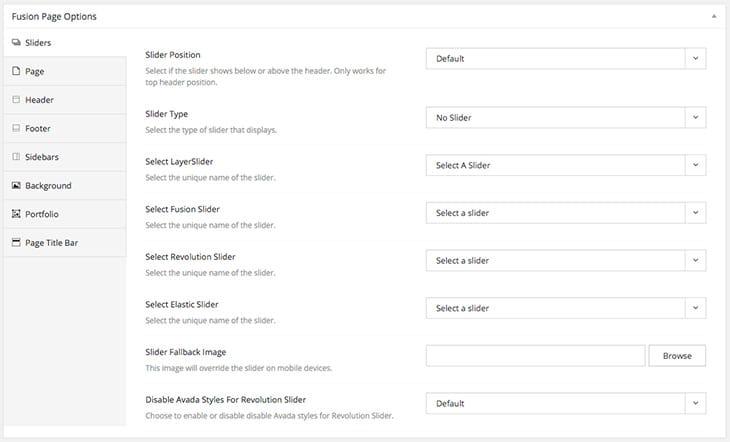 les options de personnalisation du thème wordpress Avada
