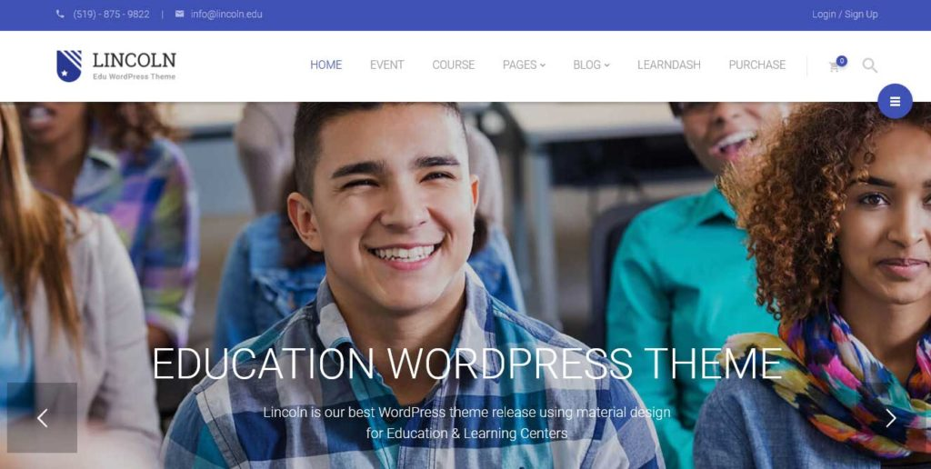 Lincoln: thèmes wordpress premiums pour site d'éducation