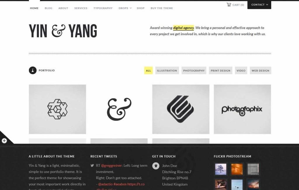 ying & yang: thème wordpress portfolio
