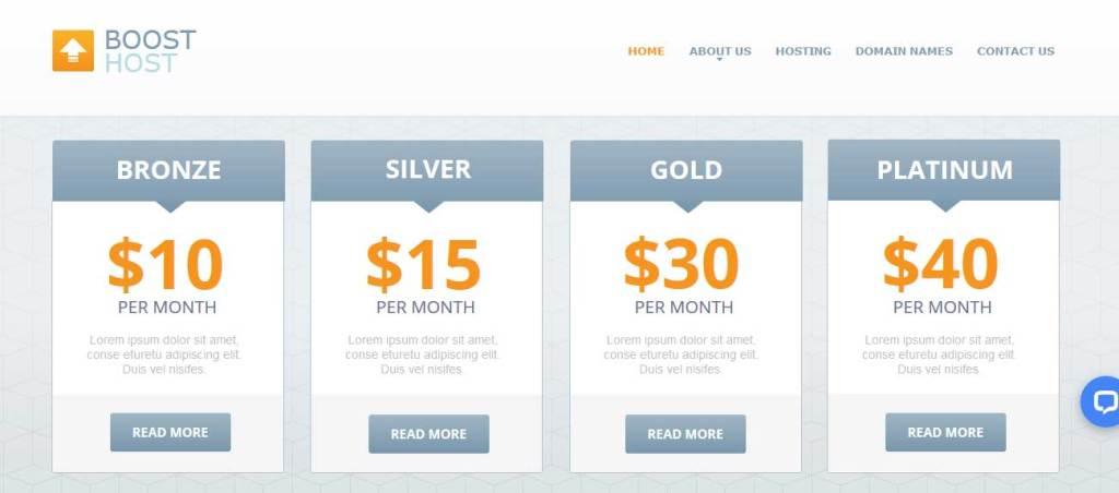boost-host : template gratuit responsive pour créer un site d'hébergement