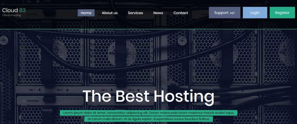 cloud-83 : template gratuit responsive pour site d'hébergement