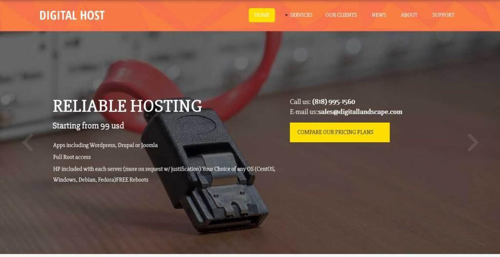 digital-host : template gratuit responsive pour créer un site d'hébergement