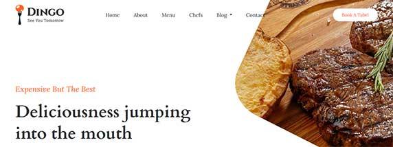 dingo : thème responsive gratuit pour site de restaurant