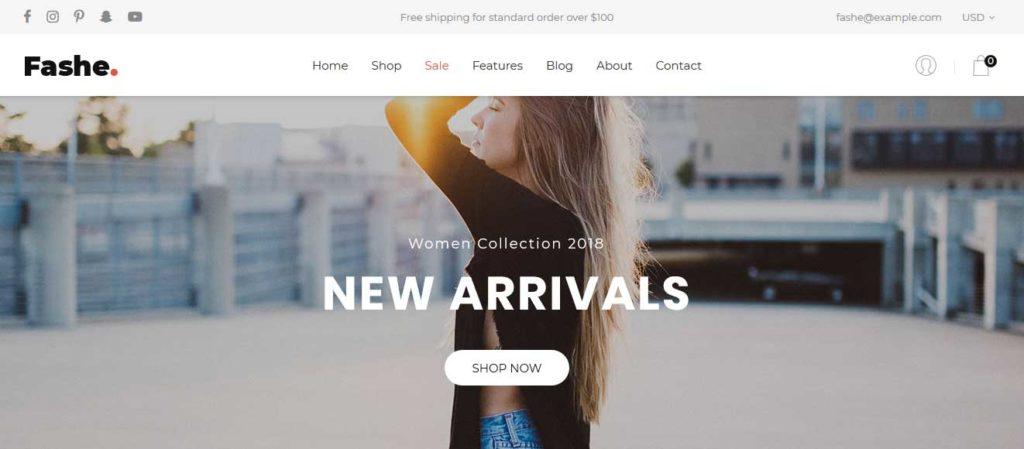 fashe : thème responsive gratuit ecommerce de mode
