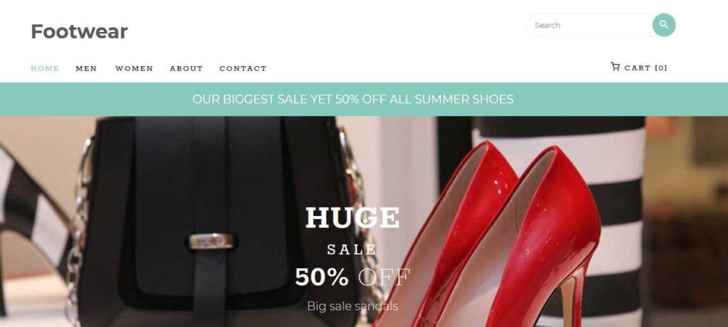 footwear : thème responsive gratuit ecommerce de mode
