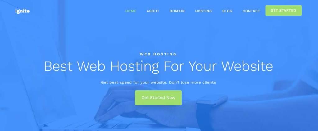 ignite : template gratuit responsive pour créer un site d'hébergement