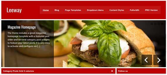 leeway : thème responsive gratuit pour site de restaurant