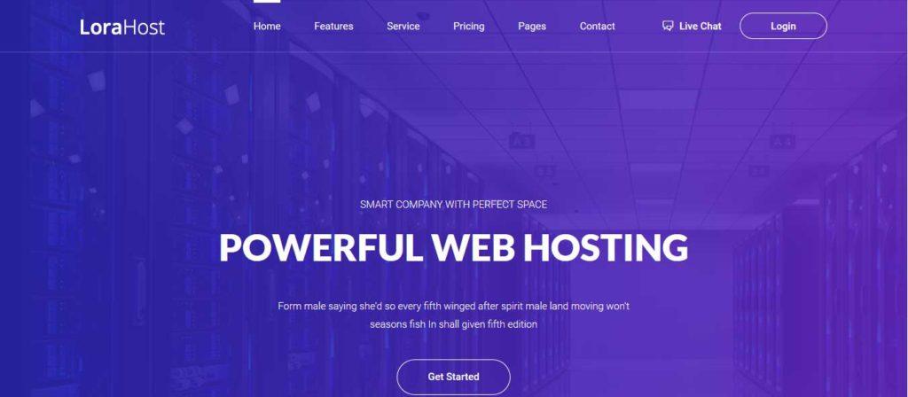 lorahost : template gratuit responsive pour site d'hébergement