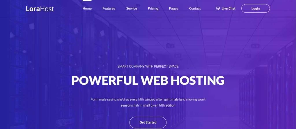 lorahost : template gratuit responsive pour créer un site d'hébergement