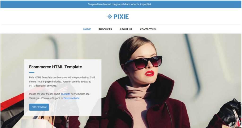 pixie : thème responsive gratuit ecommerce de mode