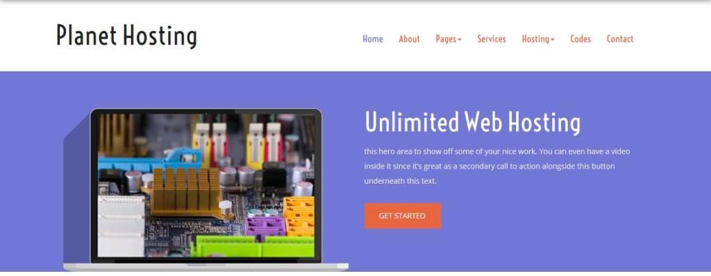 planet-hosting : template gratuit responsive pour créer un site d'hébergement