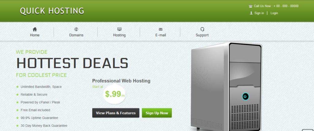 quick-hosting : template gratuit responsive pour site d'hébergement