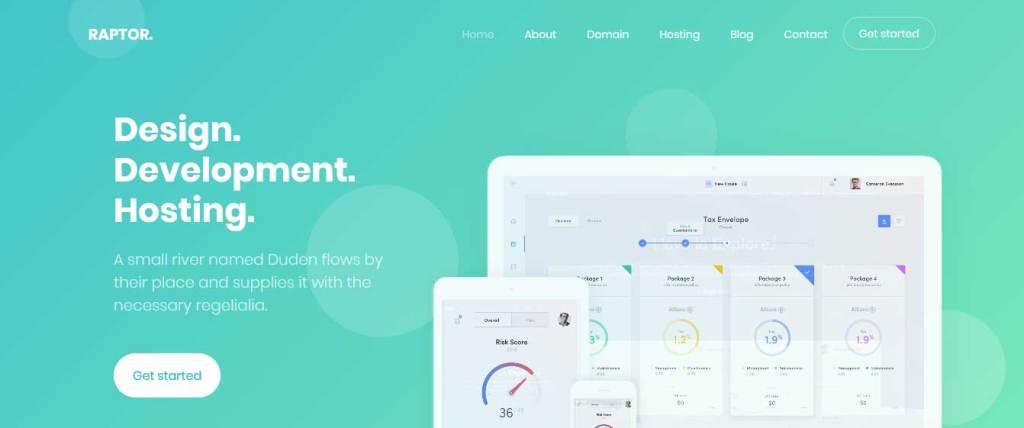 raptor : template gratuit responsive pour créer un site d'hébergement