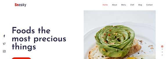 sneaky : thème responsive gratuit pour site de restaurant
