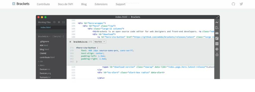 brackets : éditeurs de code gratuits