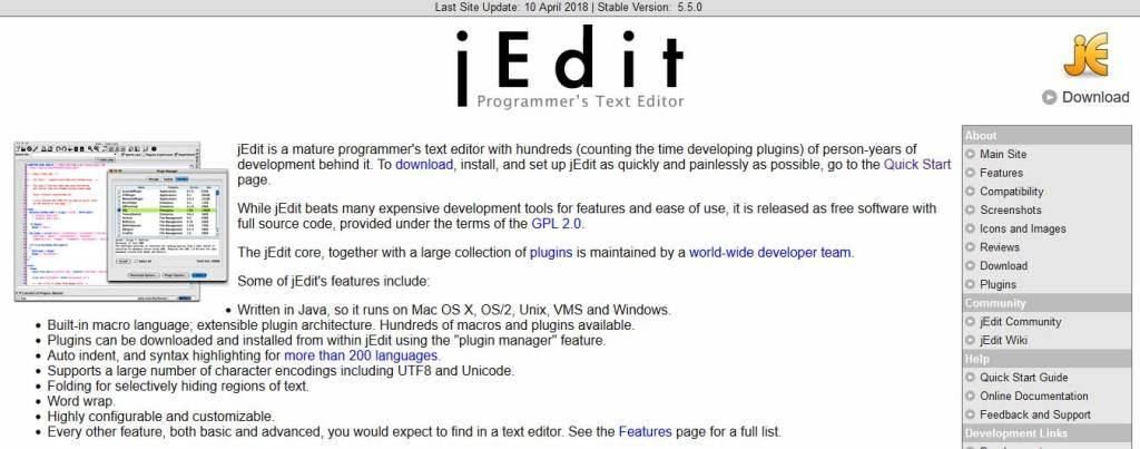jedit : éditeurs de code gratuits