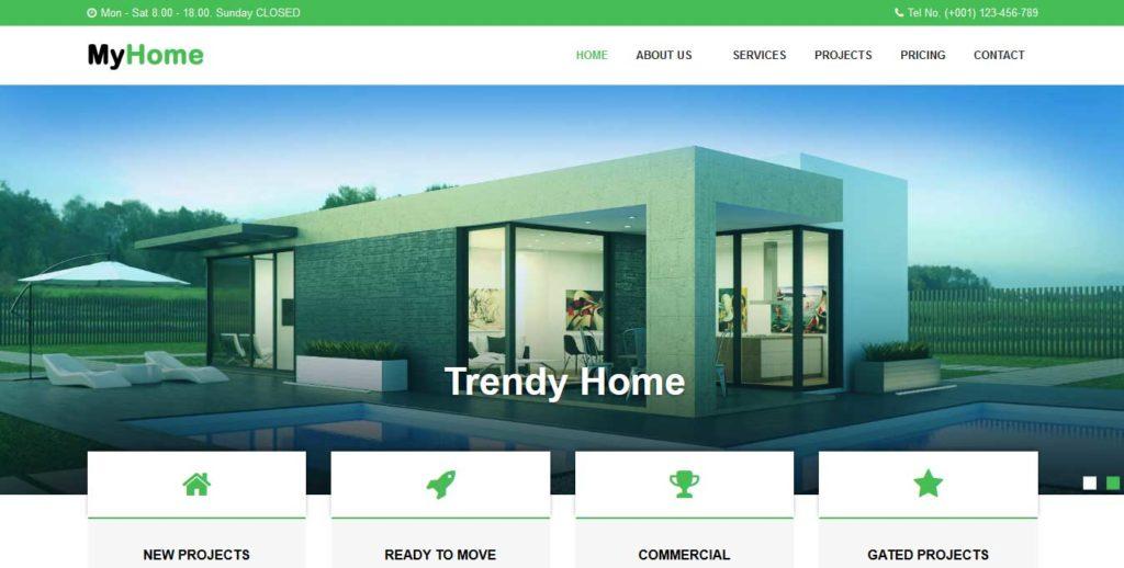 myhome : thème gratuit pour site d'immobilier