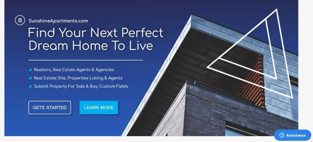 sunshine : thème gratuit pour site d'immobilier