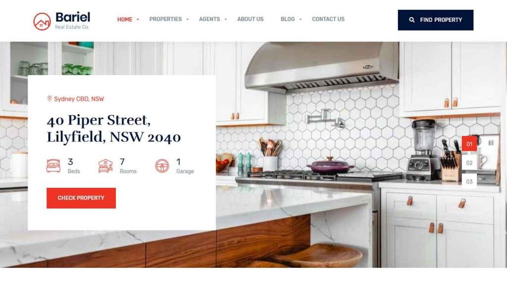 Bariel : Thème wordpress pour site d'immobilier