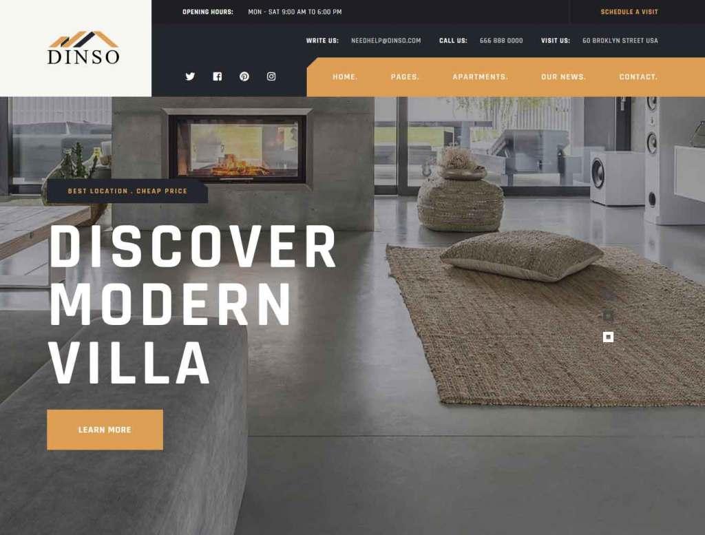 Dinso : Thème wordpress pour site d'immobilier
