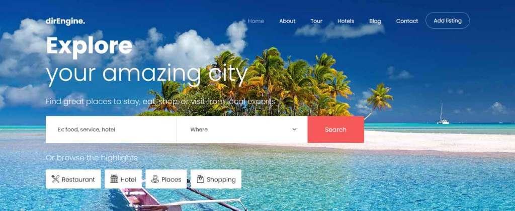 direngine : template bootstrap agence de voyages gratuit