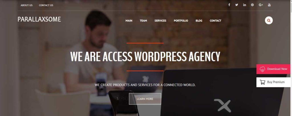 parallaxsome : thème wordpress gratuit