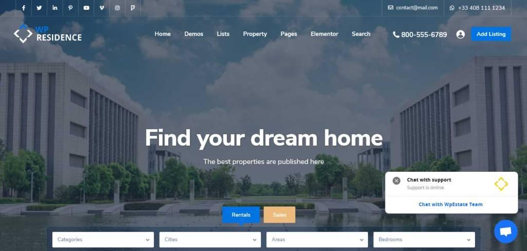 residence : thèmes wordpress immobilier