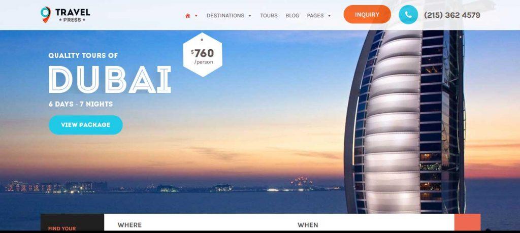 Travel Press : thème premium pour agence de voyage