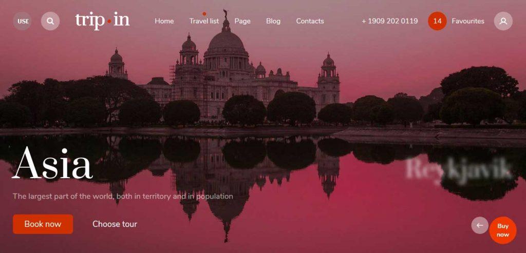 Tripin : thème premium pour agence de voyages