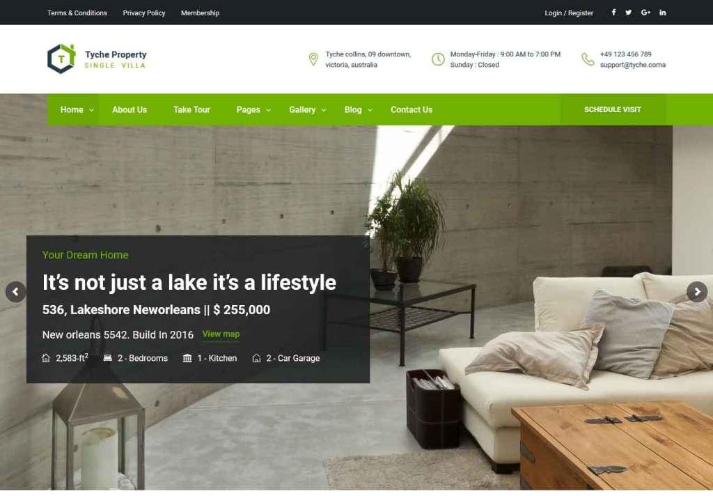 tyche : Thème wordpress pour site d'immobilier