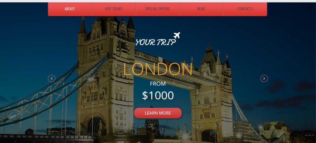 Your trip : template bootstrap agence de voyages gratuit