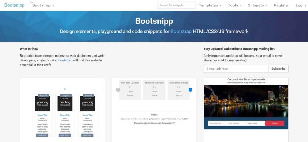 bootsnipp gallérie des outils pour web développeur