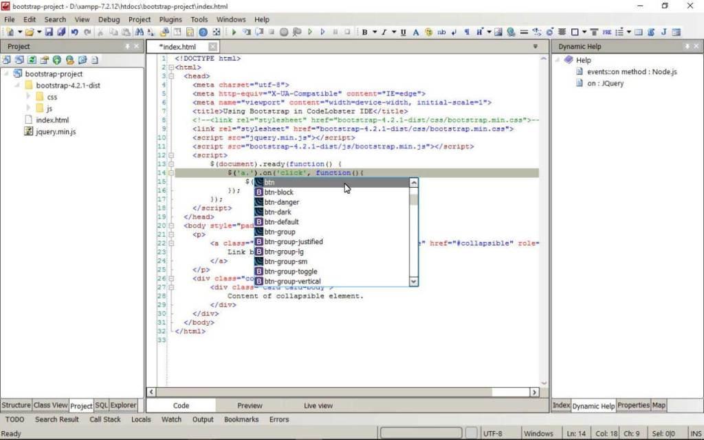 utilisation des classes CSS dans CodeLobster