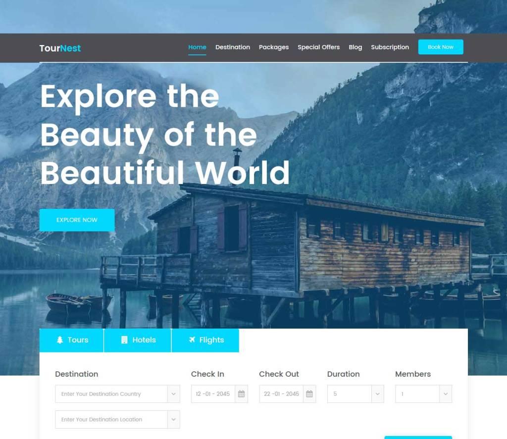 tournest : template bootstrap agence de voyage gratuit