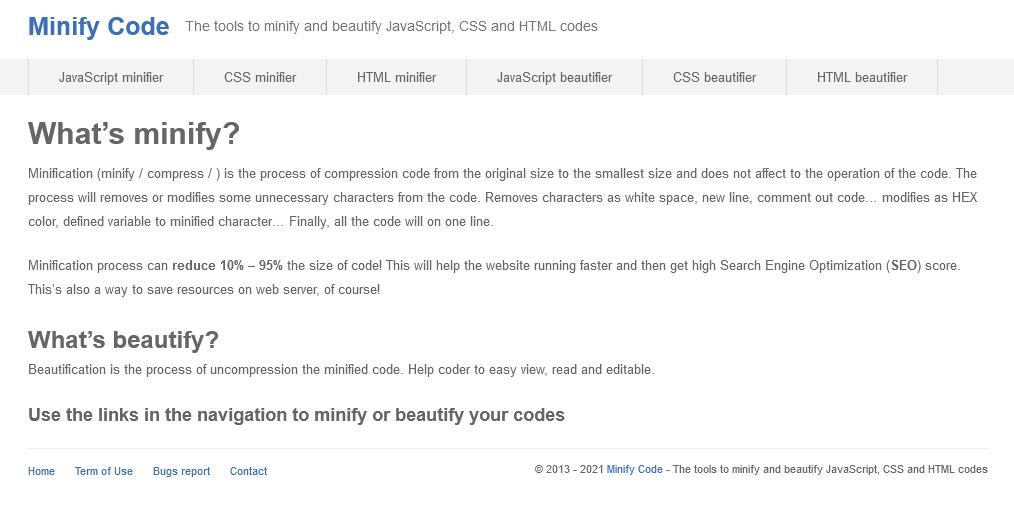 Minify code : outils de compression de code CSS JS et HTML
