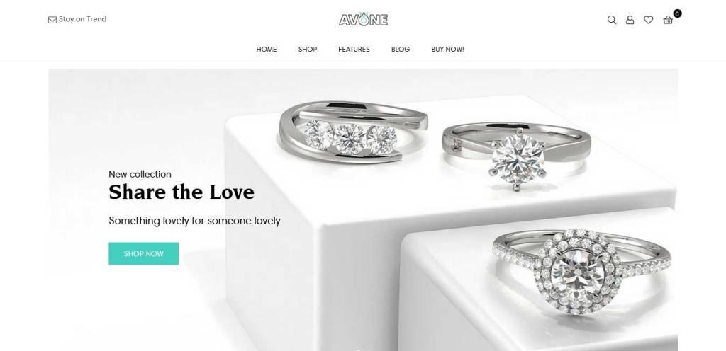 Avone : thèmes pour site shopify de bijoux