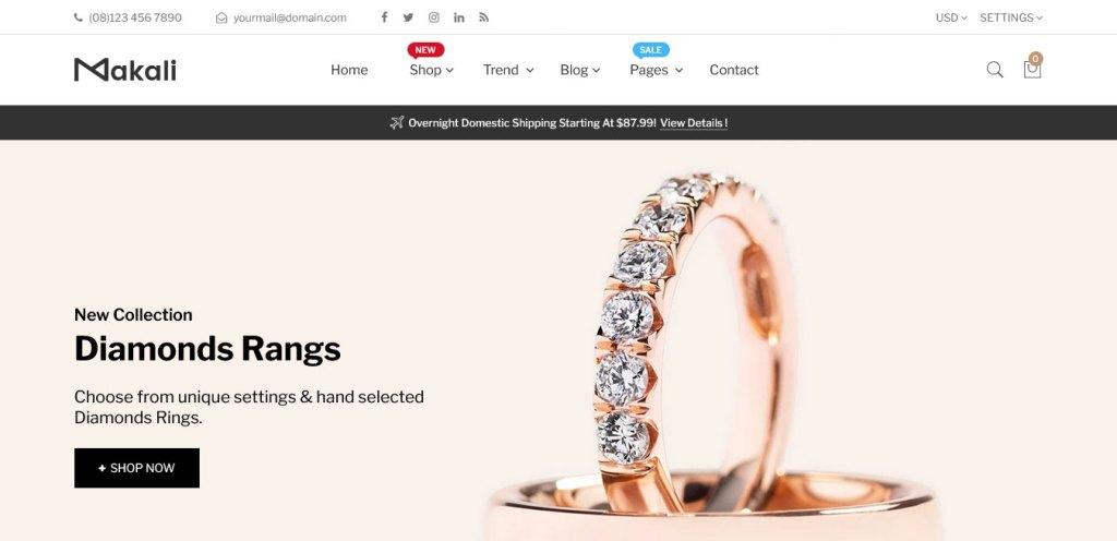 Makali : thèmes pour site shopify de bijoux