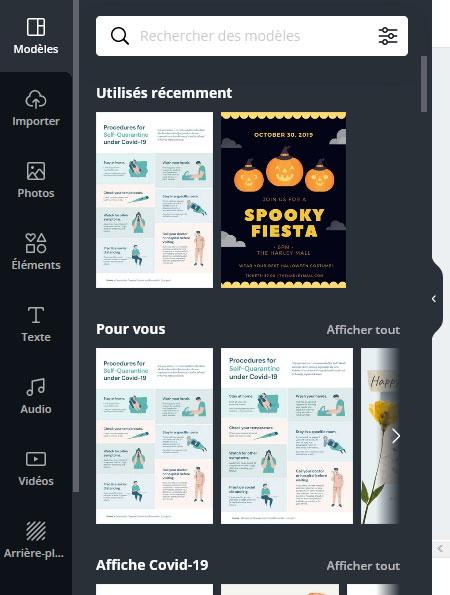 la boite à outils de l'interface de gestion des visuels de canva