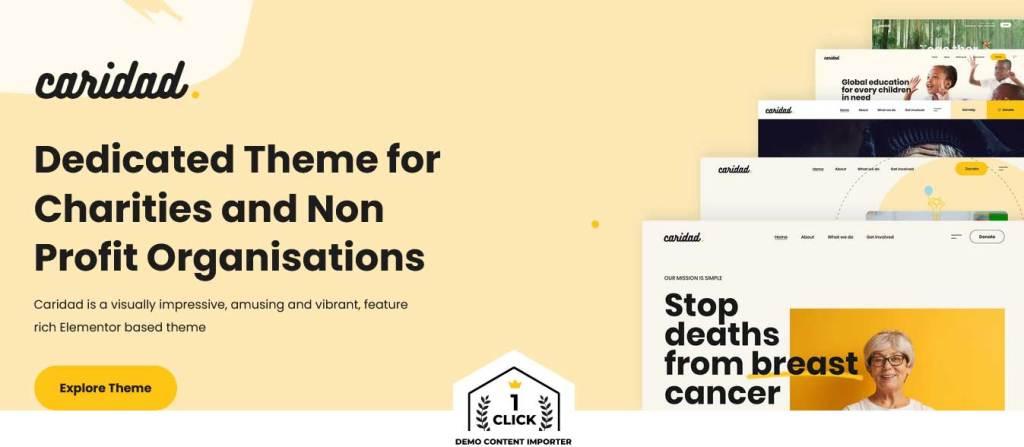 caridad : thèmes wordpress pour site d'association
