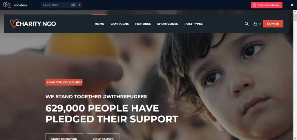 charity ngo : thèmes wordpress pour site d'association