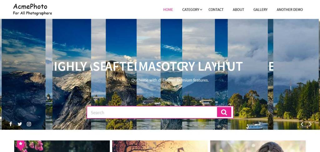 acmephoto : thèmes wordpress gratuits pour photographes