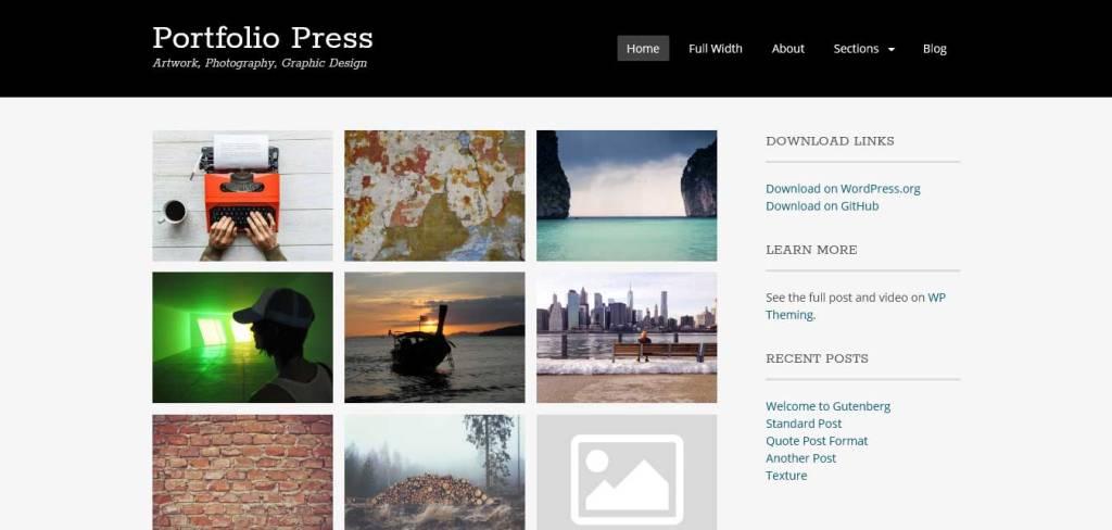 portfolio press : thèmes wordpress gratuits pour photographes