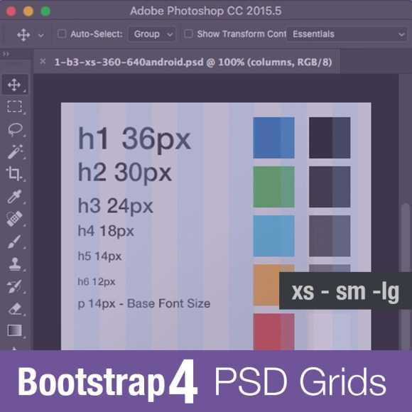 bootstrap 4 grid psd