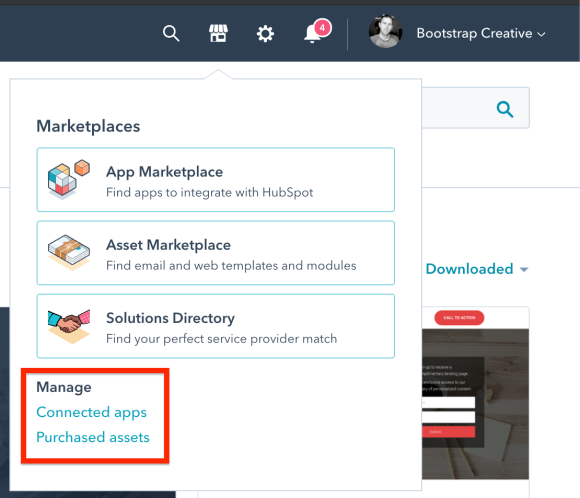 find hubspot marketplace templates downloaded