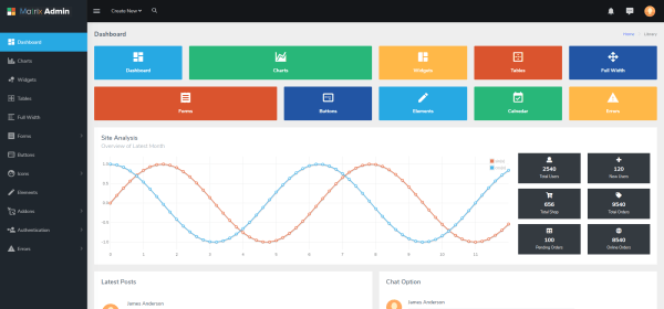 matrix admin in free bootstrap admin templates