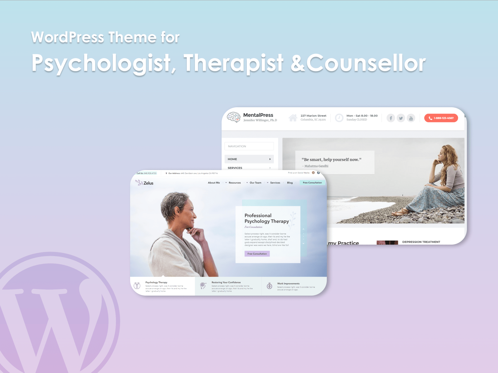 Psychologist, therapist and counsellor theme