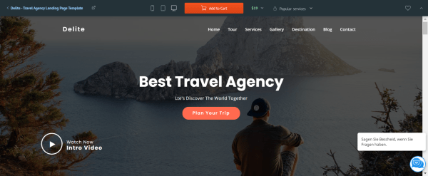 delite Travel Landing Page Template